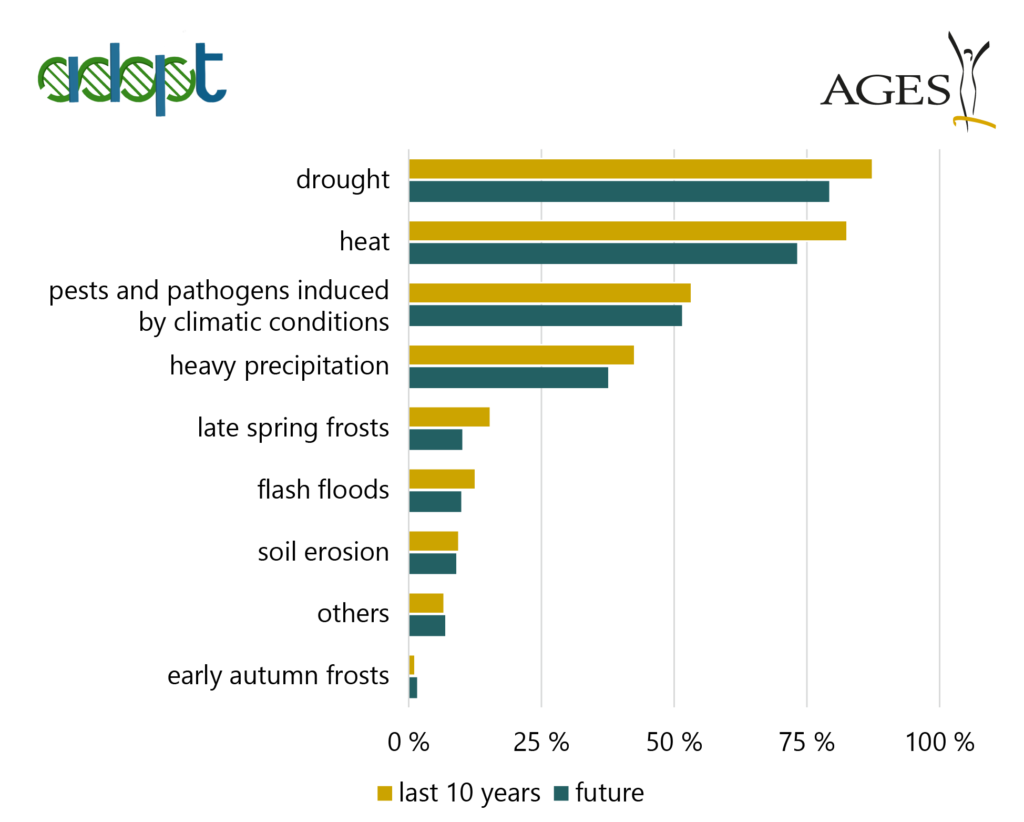 Graph: ADAPT asked European farmers about the impact of the climate crisis on their potato yield.
